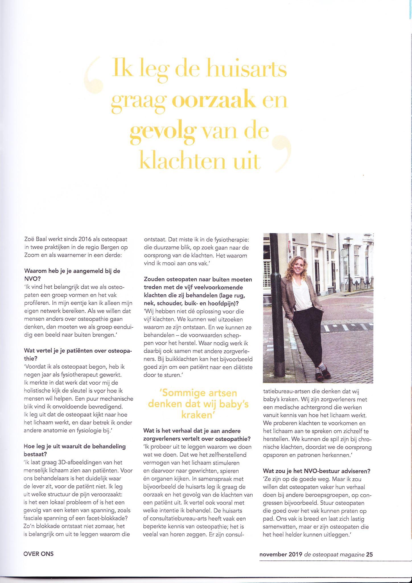 Vakblad | Osteopaat van Tholen